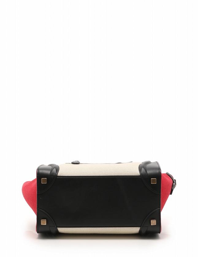 7d387f76476f ... セリーヌ CELINE ハンドバッグ ラゲージ マイクロショッパー ベージュ 黒 赤 キャンバス レザー 167792XSI 保存袋付き  レディース