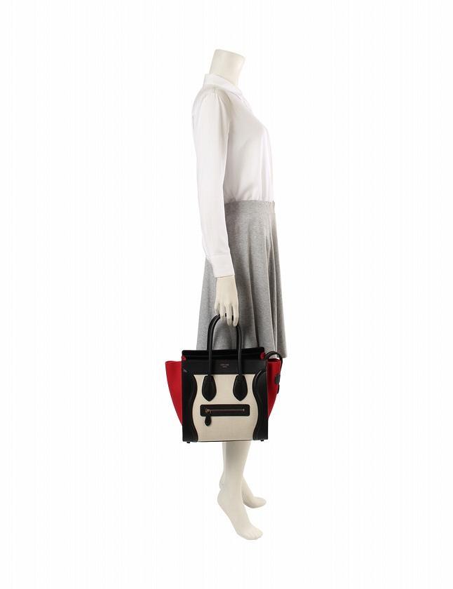 8dfd22269a85 ... セリーヌ CELINE ハンドバッグ ラゲージ マイクロショッパー ベージュ 黒 赤 キャンバス レザー 167792XSI 保存袋付き  レディース ...