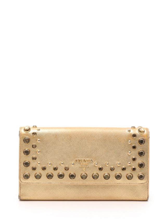 aed5b18c0ede プラダ PRADA コンパクトクラッチ 二つ折り 長財布 ゴールド 小物 サフィアーノレザー 1M1311 ビジュー SAFFIANO VERNIC  レディース