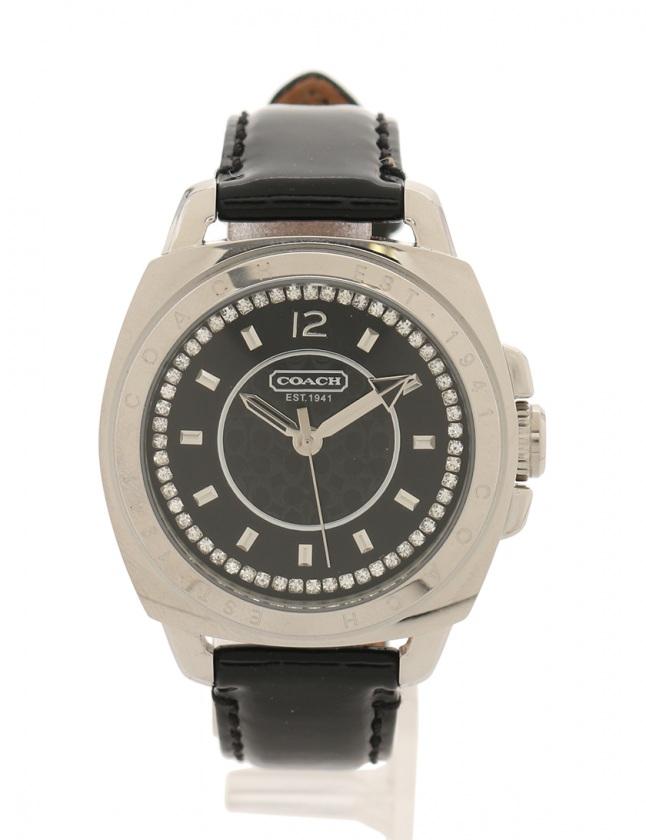 e63ed33d109b コーチ COACH 腕時計 クオーツ シルバー 黒 CA.09.7.14.0469 SS エナメルレザー ラインストーン ガラス メンズ