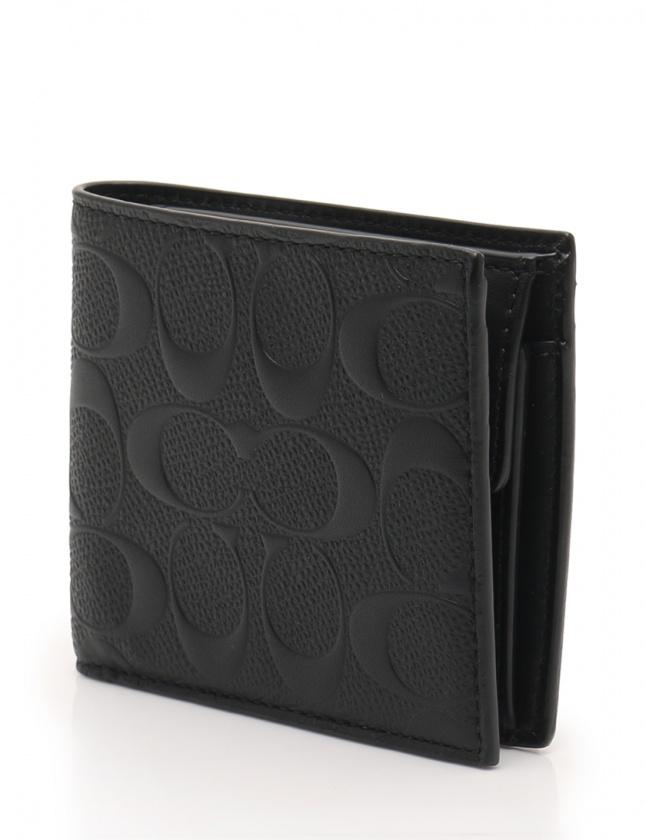 buy online f4d75 c378f コーチ COACH 財布 二つ折り シグネチャー 黒 小物 レザー F75363 メンズ
