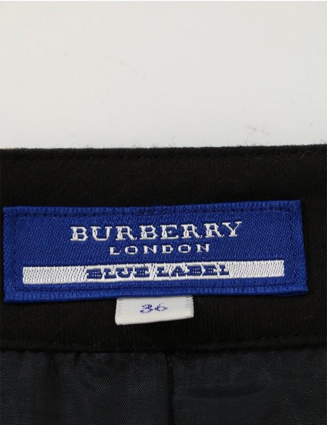 バーバリーブルーレーベル BURBERRY BLUE LABEL ワンピース 黒 白 グレー 36 半袖 ミニ丈 チェック柄 S レディース