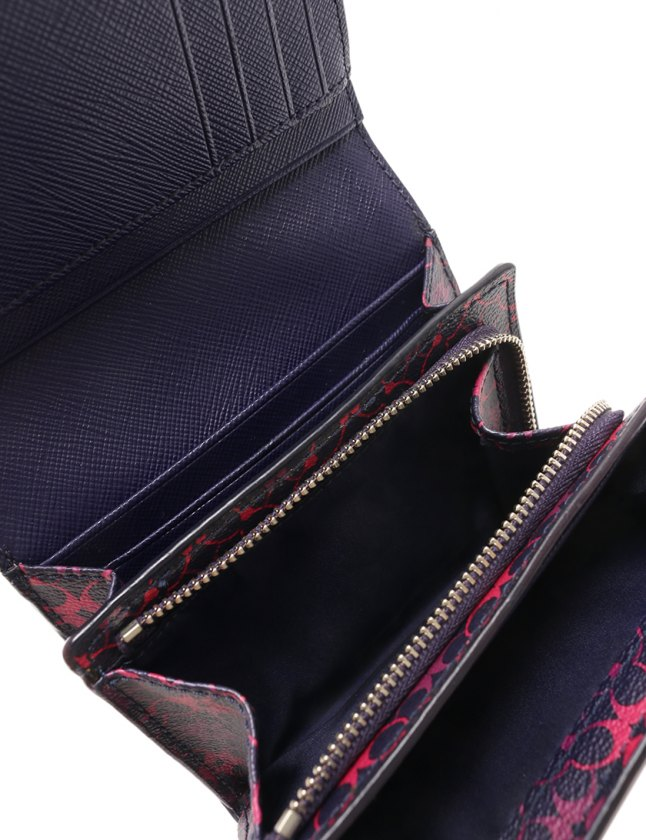 best service 775a2 71234 コーチ COACH 二つ折り財布 ミニシグネチャー 黒 ピンク 紫 小物 PVC レディース