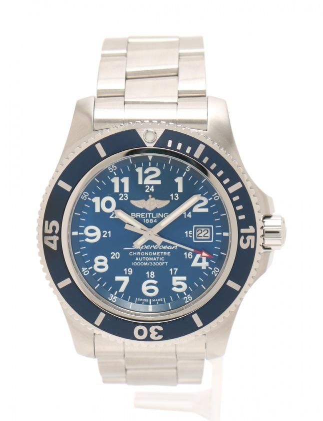 half off 6ca74 16e7a ブライトリング BREITLING 腕時計 自動巻き スーパーオーシャン2 44mm シルバー 青 A17392 SS サファイヤクリスタル 青文字盤  メンズ