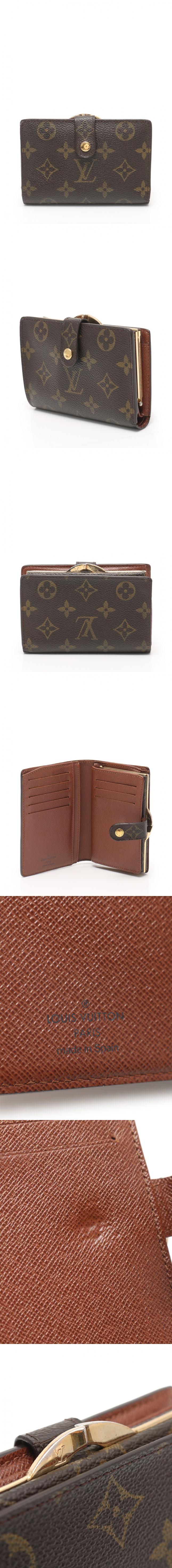 二つ折りガマ口財布 ポルトモネ ビエ ヴィエノワ モノグラム 茶 小物 PVC レザー M61663