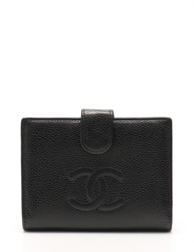 e8377addd580 シャネル CHANEL 二つ折り財布 ココマーク 黒 小物 キャビアスキン A13497 がま口 ゴールド金具 レディース