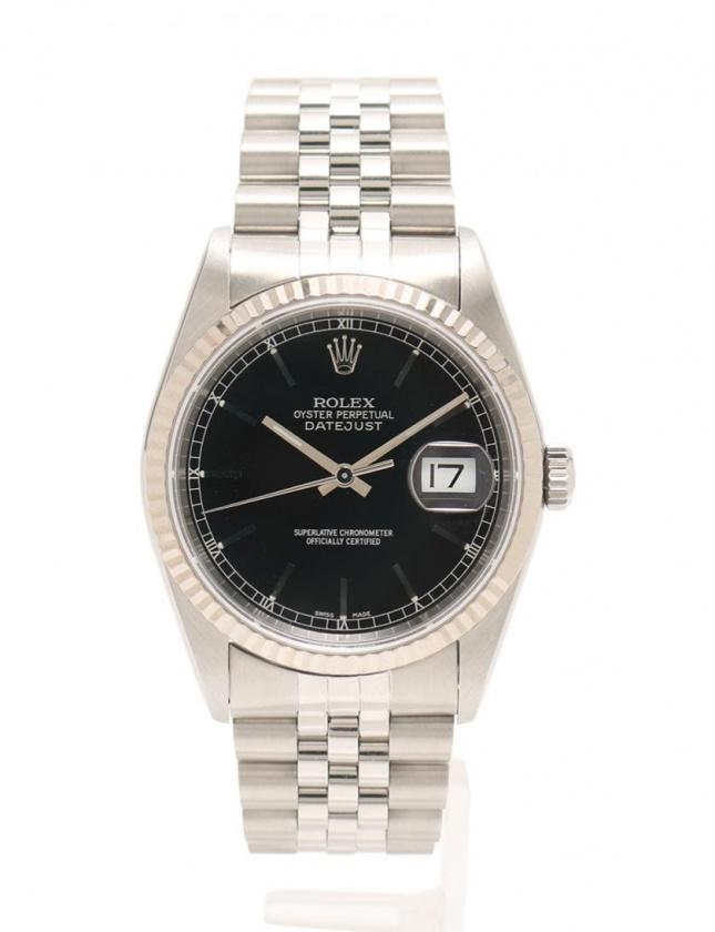 buy popular 9ab42 a2a18 ロレックス ROLEX 腕時計 自動巻き デイトジャスト シルバー ホワイトゴールド 16234 SS K18WG サファイヤクリスタル メンズ