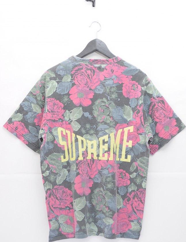 シュプリーム SUPREME Tシャツ 黒 ピンク 黄緑 M トップス 半袖 丸首 総柄 プリント コットン FLOWERS T 2018SS メンズ