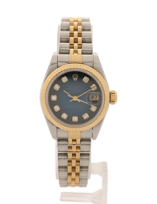 buy popular 3458d 9bc3f ロレックス ROLEX 腕時計 デイトジャスト 自動巻き シルバー ゴールド 69173G SS K18YG SS K18YG  ブルーグラデーション文字盤 新10Pダイヤ レディース