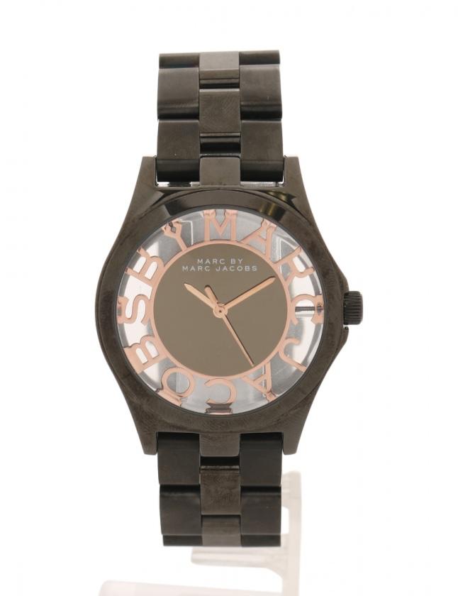 on sale c8629 79f57 マークバイマークジェイコブス MARC by MARC JACOBS 腕時計 ヘンリースケルトン クオーツ 黒 MBM3254 ベルト メンズ  レディース