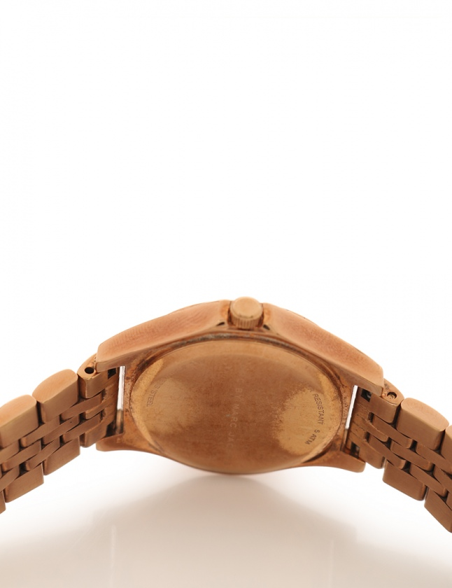 マークバイマークジェイコブス MARC by MARC JACOBS 腕時計 クオーツ ゴールド MBM3322 SS デイト 青文字盤 レディース
