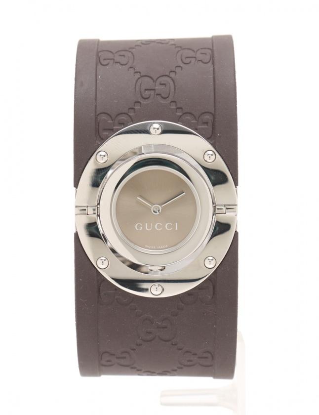グッチ GUCCI 腕時計 トワールコレクション レディース シルバー ダークブラウン ベージュ 112/YA112421 SS ラバー SS レディース