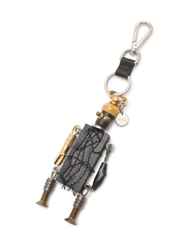 6164768a8e39 プラダ PRADA バッグチャーム ロボット 黒 マルチカラー 小物 ウッド メンズ レディース