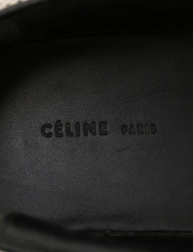 f721ccd1f4f2 ... セリーヌ CELINE スニーカー スリッポン 白 黒 36 シューズ 23cm 313652 キャンバス レディース ...