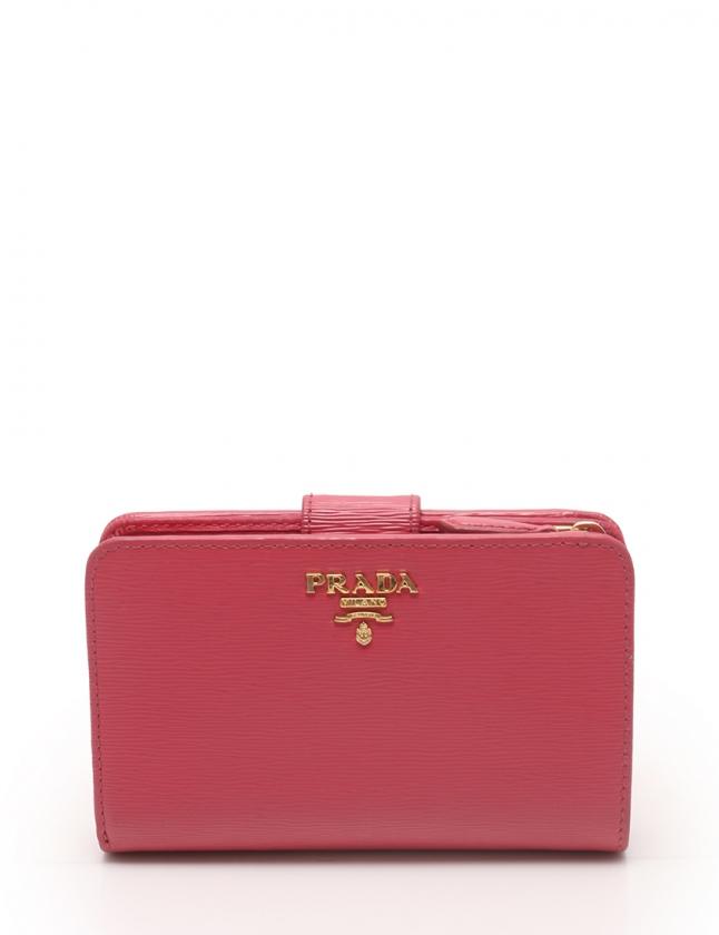 big sale 27b31 a3510 プラダ PRADA 二つ折り財布 ピンク 小物 レザー レディース