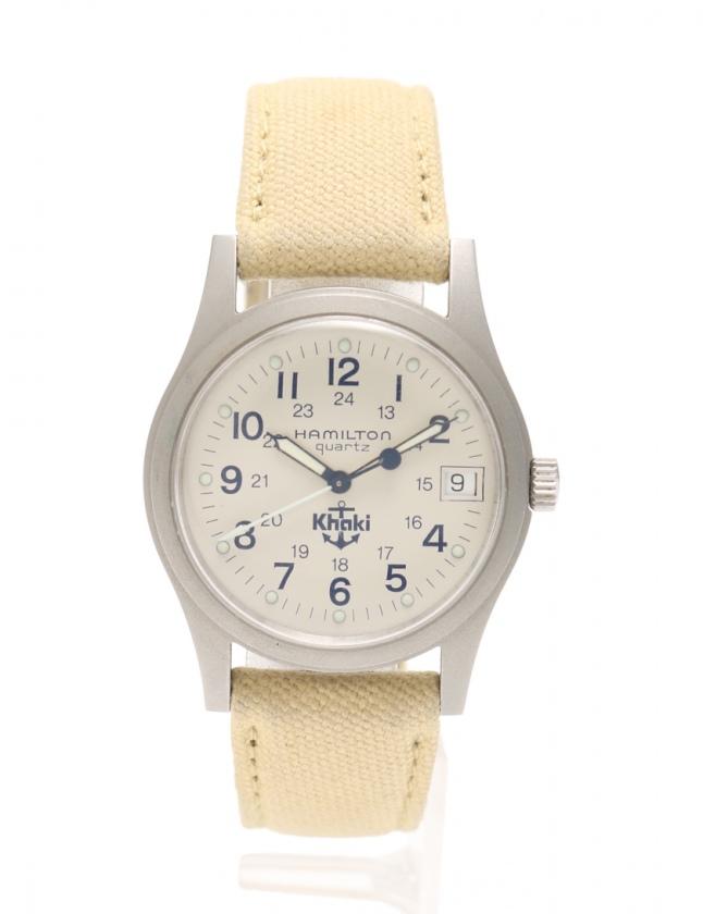 cheap for discount c5bbd 10b4f ハミルトン HAMILTON 腕時計 クオーツ ボーイズ アイボリー 9797 SS キャンバス KHAKI メンズ レディース