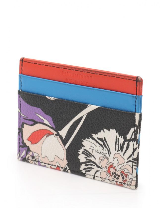 エミリオプッチ EMILIO PUCCI カードケース 黒 赤 青 小物 PVC レザー レディース