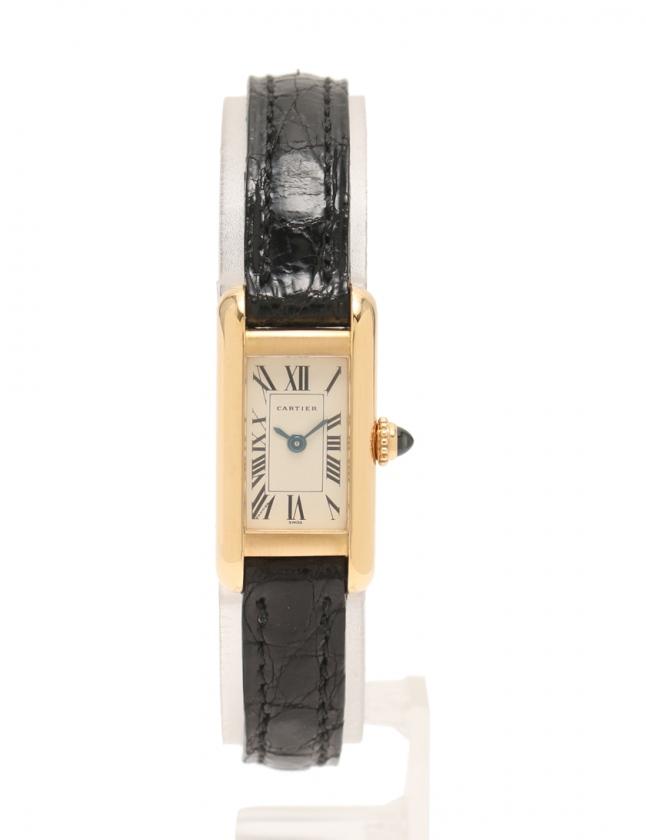 reputable site f805f 68c4c カルティエ Cartier 腕時計 タンクアロンジェ クオーツ イエローゴールド W1529956 K18YG レザー 白文字盤 レディース