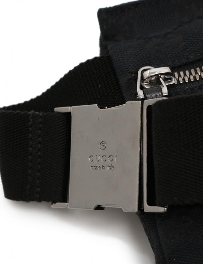 グッチ GUCCI ボディバッグ ウエストポーチ GGキャンバス 黒 28566 キャンバス レザー メンズ