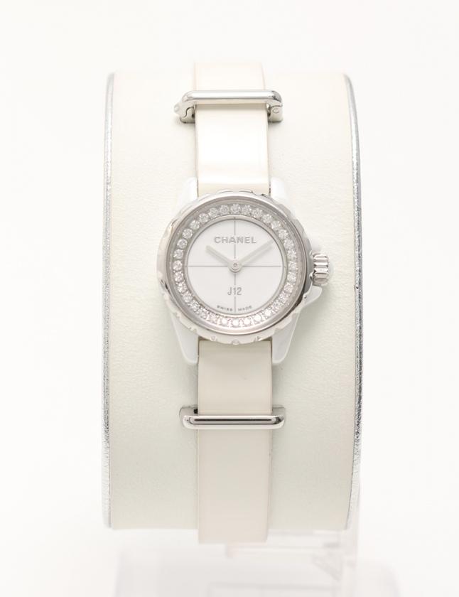 separation shoes 13720 9b94f シャネル CHANEL 腕時計 J12 XS クオーツ ホワイトセラミック 白 シルバー H4664 SS ダイヤモンド サファイヤクリスタル  エナメルレザー レディース