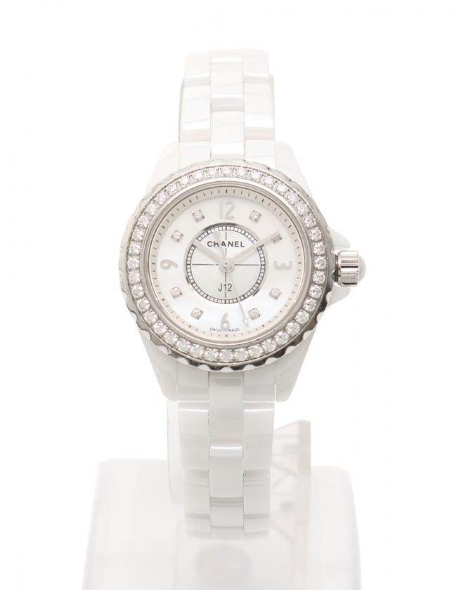 new style c83ef 1771b シャネル CHANEL 腕時計 J12 29mm クオーツ ホワイトセラミック 白 シルバー H2572 セラミック サファイヤクリスタル 8P  ダイヤモンド SS シェル文字盤 レディース
