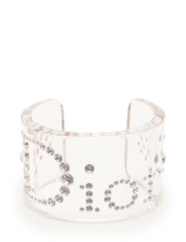 online store ecc85 e2833 クリスチャンディオール Christian Dior バングル クリア アクセサリー ラインストーン ロゴマーク レディース