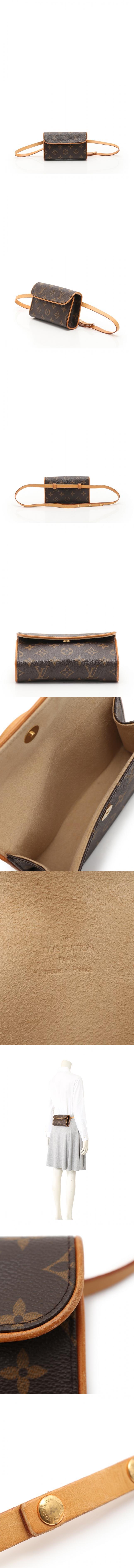 ボディバッグ ウエストポーチ ポシェット フロランティーヌ モノグラム 茶 M51855 PVC レザー ブトンプレッション(S)付