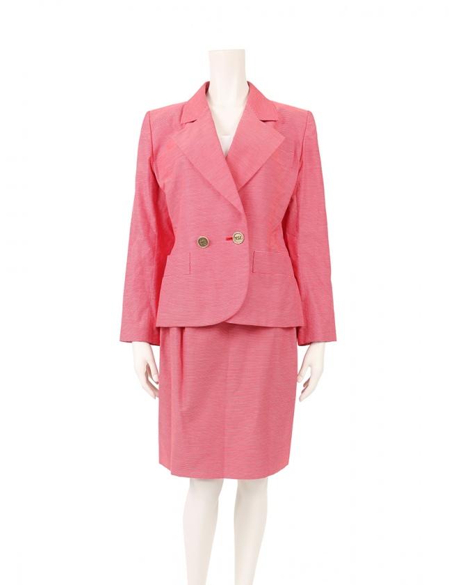 huge selection of ad4e1 56451 イヴサンローラン YVES SAINT LAURENT スーツ セットアップ ジャケット スカート 赤 白 M ひざ丈 タイト ボーダー コットン  レディース