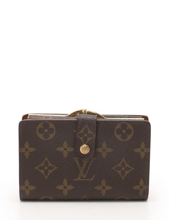 buy popular 1db93 ab24b ルイヴィトン LOUIS VUITTON 二つ折り財布 がま口 ポルトモネ ヴィエノワ モノグラム 茶 小物 PVC レザー M61663 ...
