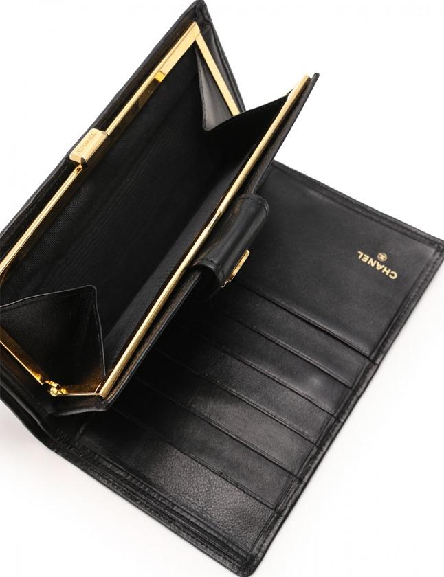 fe50fe51d0b0 ... シャネル CHANEL 二つ折り長財布 ビコローレ 黒 小物 レザー がま口 レディース