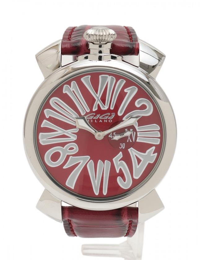best sneakers d392f 4e13c ガガミラノ GaGa MILANO 腕時計 マヌアーレ スリム 46 クオーツ シルバー 赤 5084 SS レザー ミネラルガラス 型押し メンズ