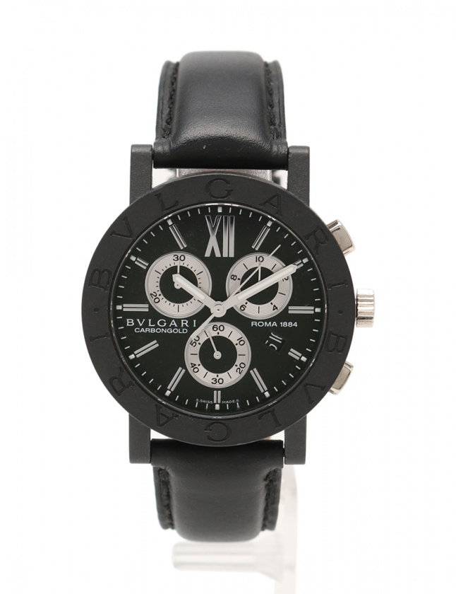 d5110dc88aa9 ブルガリ BVLGARI 腕時計 ブルガリブルガリ カーボンゴールド メンズ 黒 BB38CLCH カーボン レザー 限定999本 ローマ 1884  メンズ