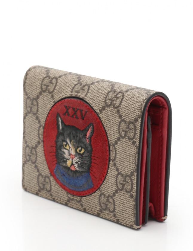 newest 8d2e8 fb878 グッチ GUCCI 二つ折り財布 ミスティックキャット GGスプリーム ベージュ 赤 小物 PVC レザー 499380 レディース