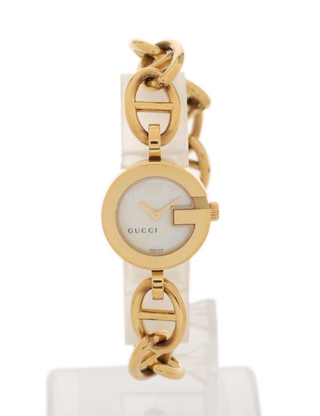 brand new 0aea7 fcd90 グッチ GUCCI 腕時計 クオーツ レディース ゴールド 107 サファイヤガラス シェル チェーン ホワイトシェル文字盤 レディース