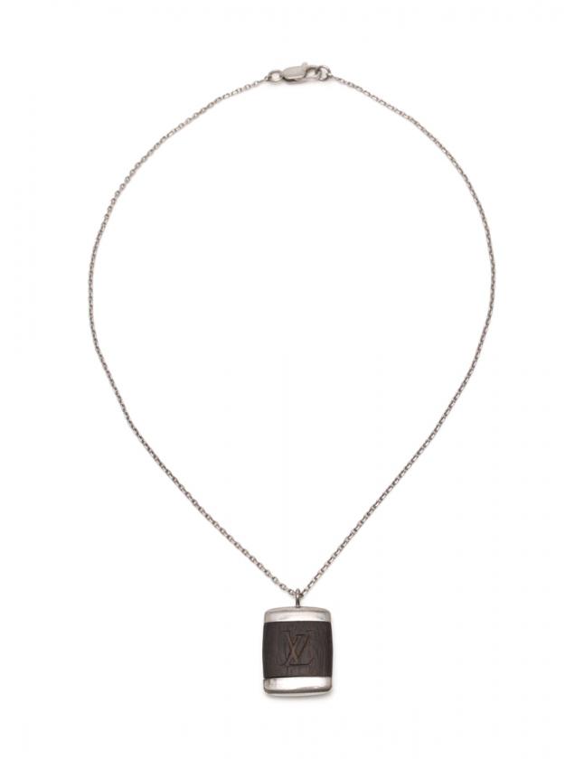 acb87a0e9ffc ルイヴィトン LOUIS VUITTON ネックレス パンダンティフ ボワ シルバー 茶 アクセサリー M65372 メンズ レディース