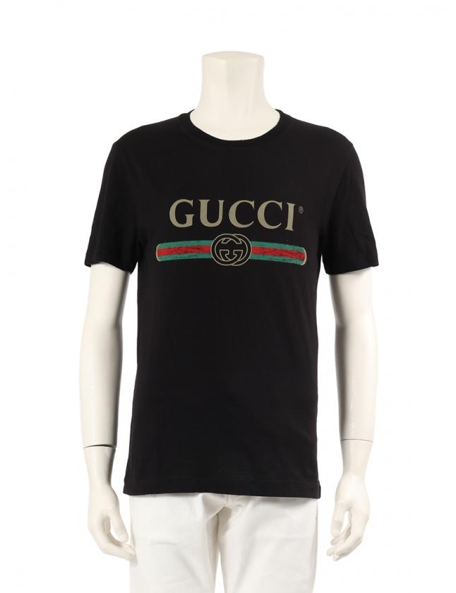 fd9970b84469 グッチ GUCCI カットソー GUCCI ロゴ ウォッシュド オーバーサイズ Tシャツ 黒 マルチカラー XS トップス 半袖 プリント  440103 X3F05 コットン ダメージ加工 メンズ