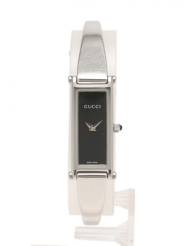 d40e77d70f16 グッチ GUCCI 腕時計 バングルウォッチ クオーツ シルバー 黒 1500L SS レディース