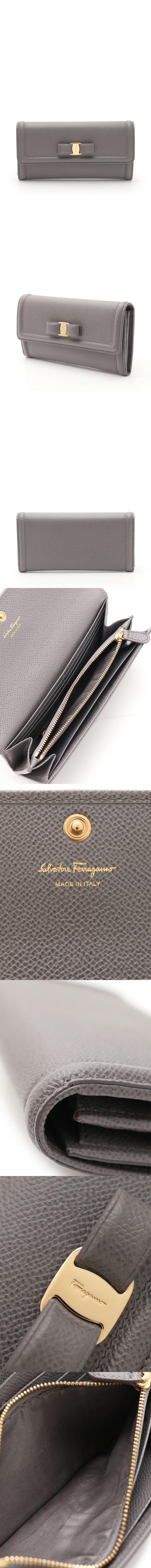 二つ折り長財布 ヴァラリボン グレー 小物 レザー 22 D154