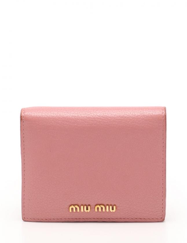on sale 48fac 90eab ミュウミュウ miumiu 二つ折り財布 MADRAS COLOUR ピンク 小物 レザー 5MV204 レディース