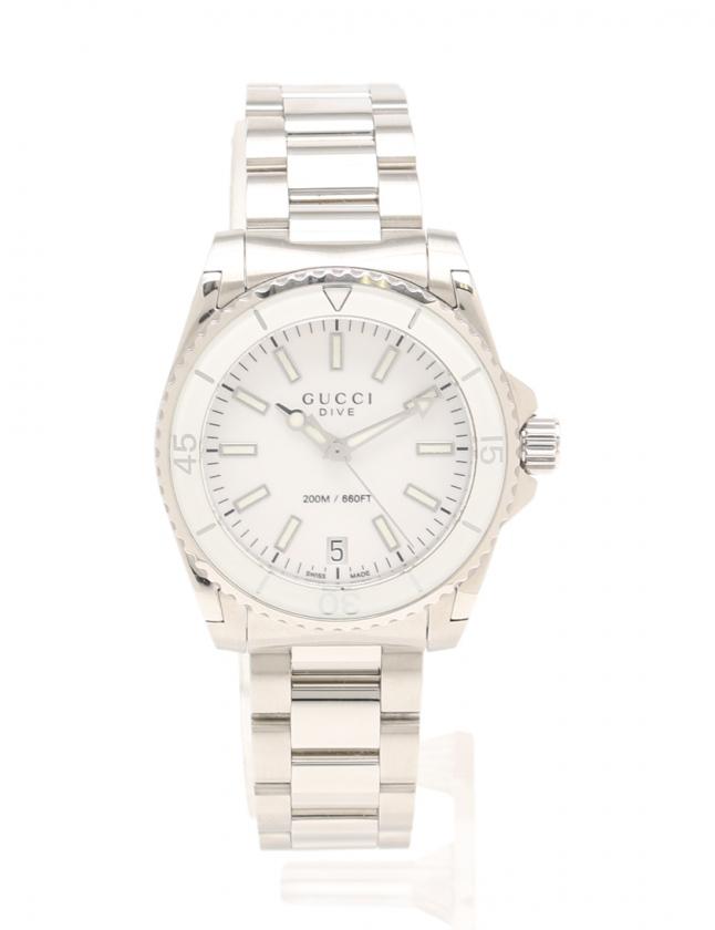 e6fa6b19364a グッチ GUCCI 腕時計 DIVE ダイヴ レディース シルバー 白 YA136402 136.4 SS 白文字盤 レディース