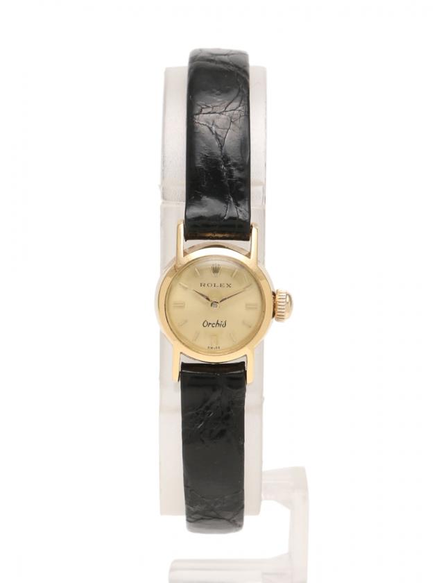 62f8cb987e ロレックス ROLEX 腕時計 オーキッド 手巻き イエローゴールド 黒 K18YG SS レザー アンティーク レディース