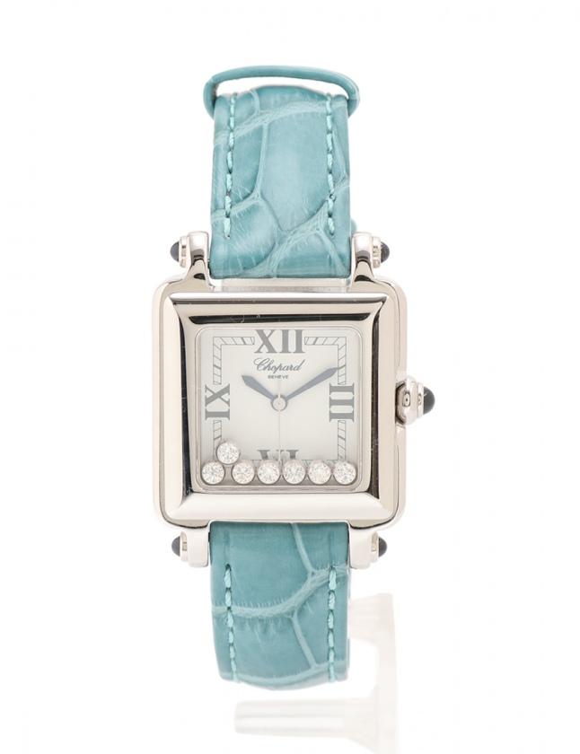 newest 92d68 c77ed ショパール chopard 腕時計 クオーツ ハッピースポーツスクエア シルバー エメラルドグリーン 27/8325-23 SS レザー ダイヤモンド  7Pダイヤ レディース