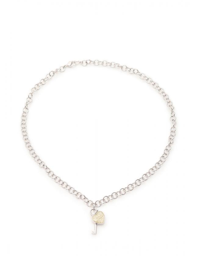 new product f3440 449d2 クリスチャンディオール Christian Dior ネックレス シルバー アクセサリー ラインストーン ハート レディース