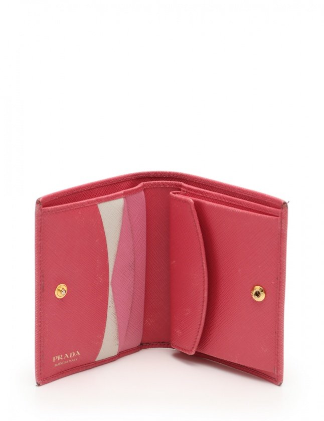buy online f2b54 8ea14 プラダ PRADA 二つ折り財布 ピンク 小物 サフィアーノレザー 1MV204 レディース