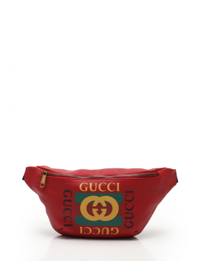 competitive price 7480f bb5d5 グッチ GUCCI ボディバッグ ウエストポーチ グッチプリント 赤 黄 緑 530412 レザー メンズ