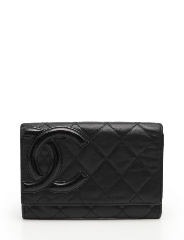 00ab58b9a258 シャネル CHANEL 二つ折り財布 カンボンライン 黒 小物 レザー エナメルレザー レディース