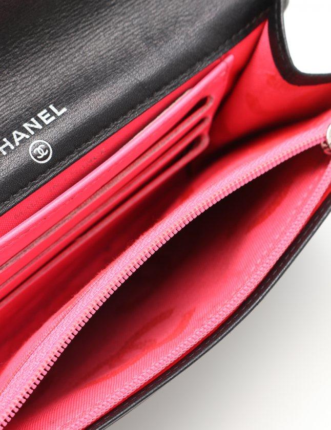 17542ed2e585 ... シャネル CHANEL 二つ折り財布 カンボンライン 黒 小物 レザー エナメルレザー レディース