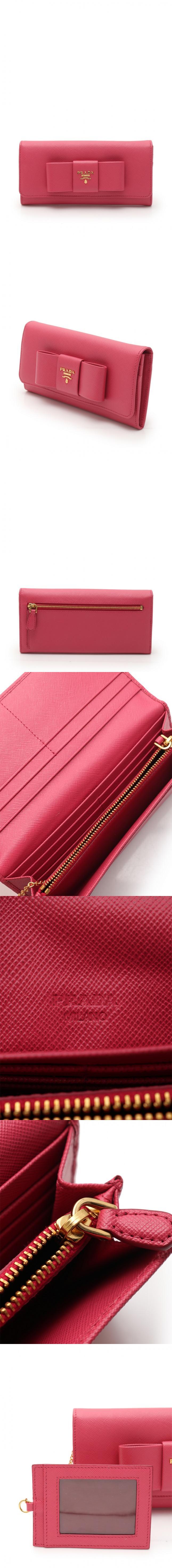 二つ折り長財布 ピンク 小物 レザー 1M1132 リボン パスケース付き SAFFIANO FIOCCO