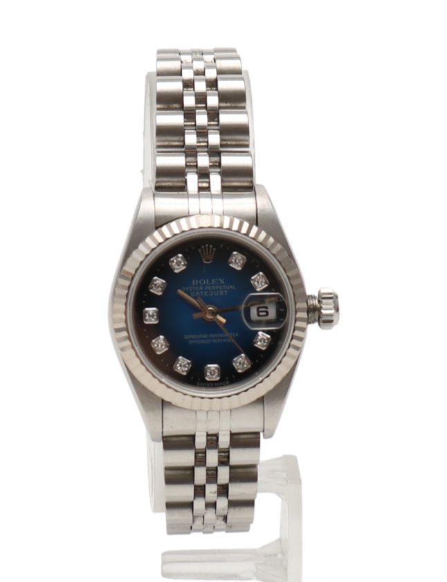 hot sale online 9d293 72304 ロレックス ROLEX 腕時計 デイトジャスト 自動巻き シルバー 69174G SS K18WG ブルーグラデーション文字盤 W番 新型10Pダイヤ  レディース