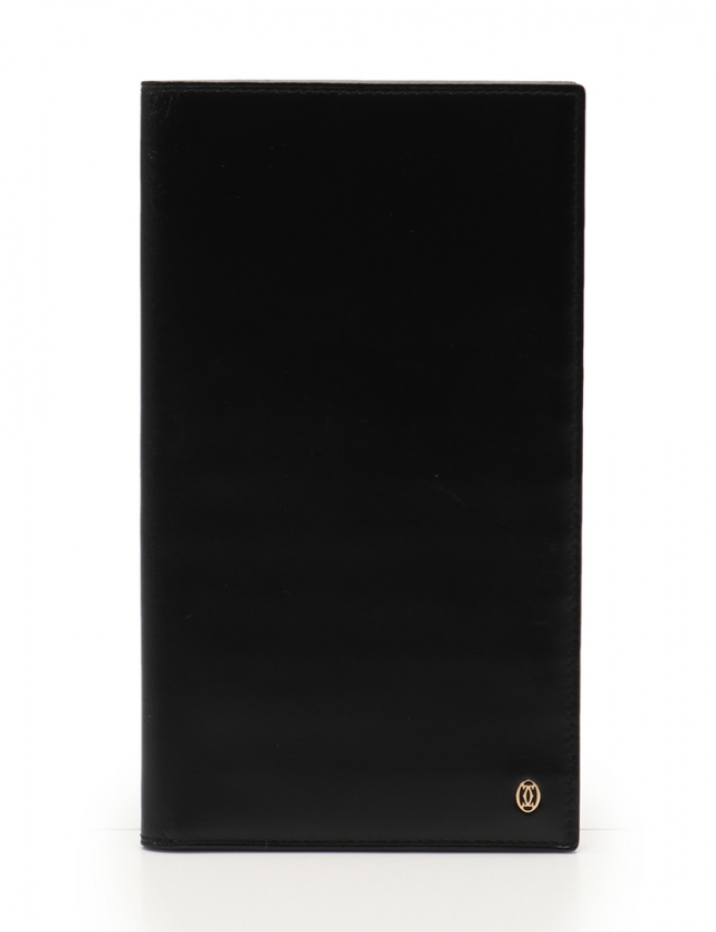 online store 4b3db bb571 カルティエ Cartier 二つ折り長財布 札入れ 黒 小物 レザー メンズ